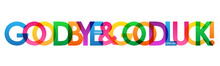 GOODBYE & GOOD LUCK! Rainbow Vector Typography Banner