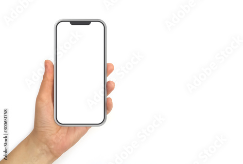 Photo Hand Holding Mobile Phone With White Screen