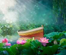Boat In A Fantasy River With L...