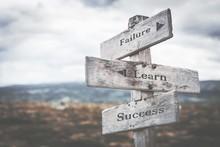 Failure, Learn, Success Signpo...