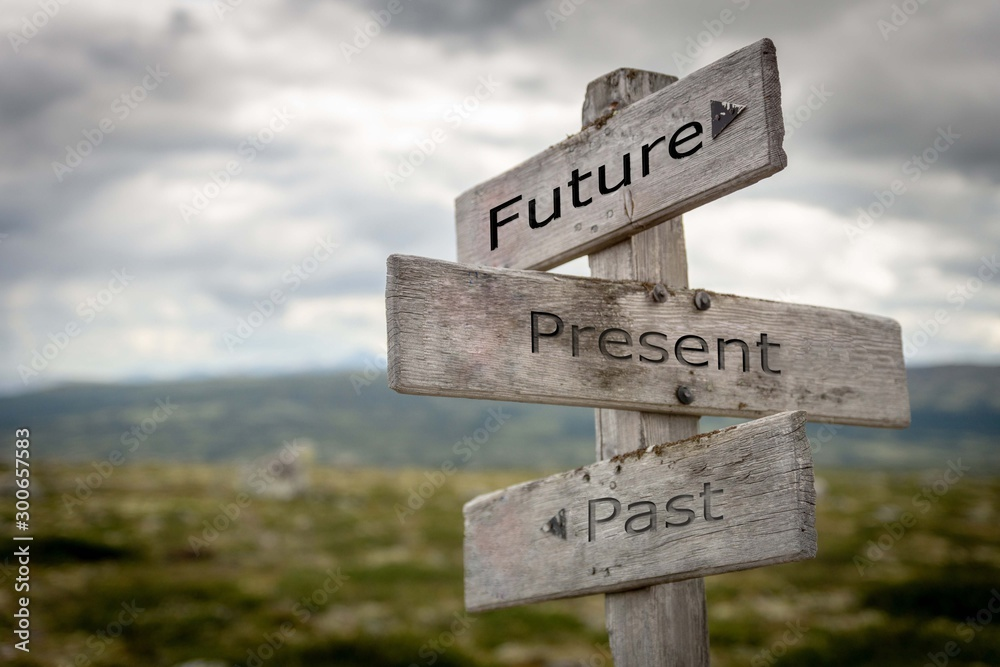Fototapety, obrazy: Future, present, past signpost. Nature, adventure, message, text, quote concept.