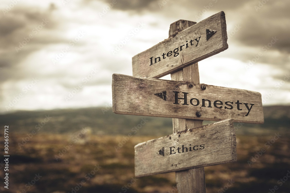 Fototapeta Integrity, honesty and ethics signpost in nature. Message, quotes, words, meaning, goals, company, business, rules, path concept.