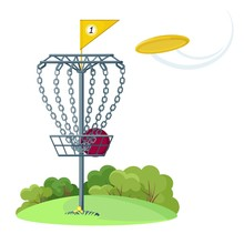 Disc Golf Basket With Yellow F...