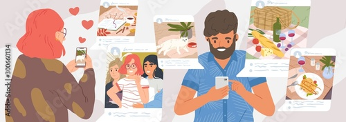 Obraz Girl and guy browse social networks. Man and woman making post and sharing happy moments with their followers. Social media influence and addiction. Vector illustration in flat cartoon style. - fototapety do salonu