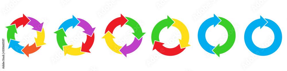 Fototapeta Set of circle arrows for infographic.