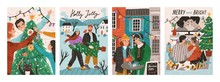 Set Of Postcards With People Celebrating Winter Holidays. Happy Family Decorating Christmas Tree. Couple Carrying Fir. Man And Woman In The Street Cafe. Couple Relaxing At Home. Vector Illustration.