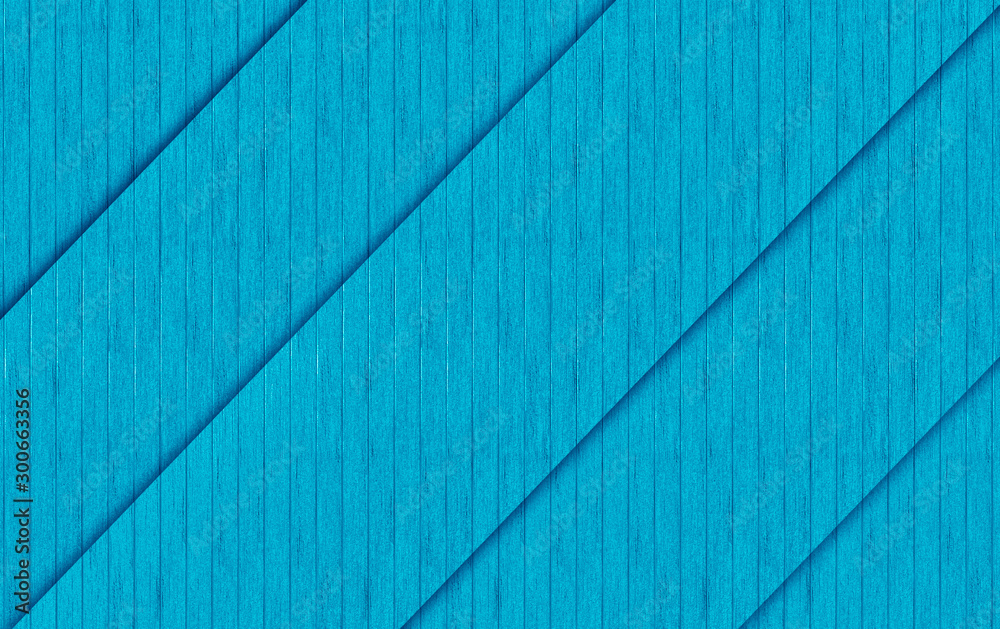 Fototapety, obrazy: 3d rendering. diagonal blue wood panels texture fence wall design background.