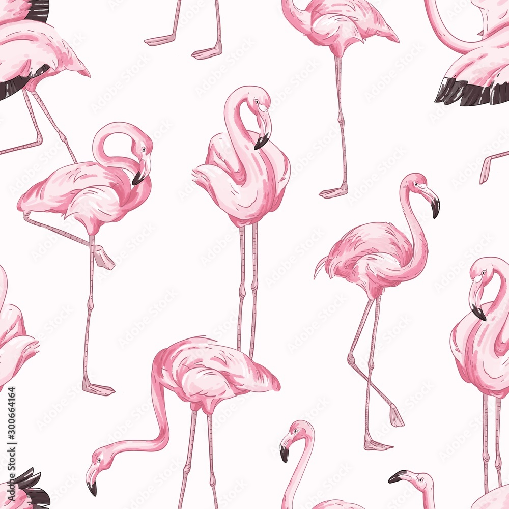 Fototapety, obrazy: Colorful seamless pattern with pink flamingo. Hand drawn realistic background with tropical birds standing in different postures. Trendy vector backdrop with exotic wild animals.