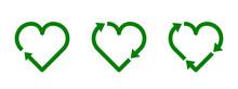 Recycle Heart Symbol Set. Gree...