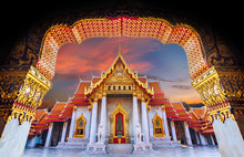 Amazing Thailand Tourist Religion AttractionsWat Benchamabophit Or Marble Temple In Bangkok, Thailand