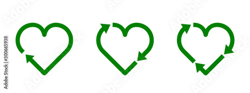 Fototapeta Recycle heart symbol set. Green heart shape recycle icon. Reload sign. Reuse, renew, recycling materials, concept. Eco friendly concept. Love the earth. Conscious consumerism. Vector illustration.  obraz na płótnie