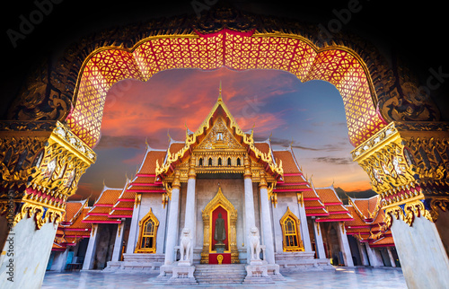 Amazing Thailand Tourist Religion attractionsWat Benchamabophit or Marble temple Wallpaper Mural