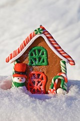 Snowman's house.Snowdrift.Christmas card.Merry winter holidays.
