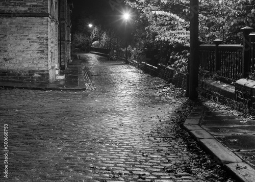 The lamp lit cobbled streets of Saltaire, pictured in moody black & white, revea Fototapet