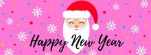 Christmas Horizontal Web Banner With Santa Claus