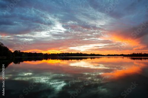 Sunset over Calm, Quiet Lake