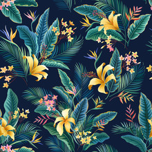 Seamless Floral Pattern. Tropical Floral Tropical Pattern With Hibiscus And Palm Tree Leaves On Dark Blue