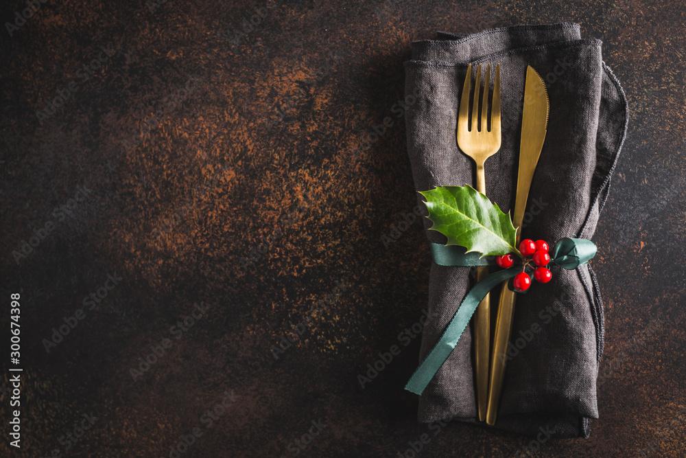 Fototapety, obrazy: Christmas cutlery with napkin