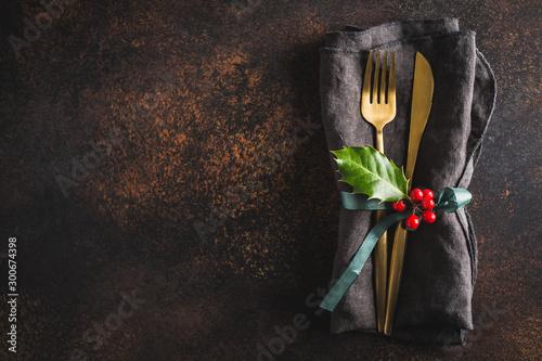 fototapeta na szkło Christmas cutlery with napkin