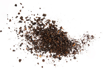 Dark ground coffee bean crushed craked broken isolated on white background top view