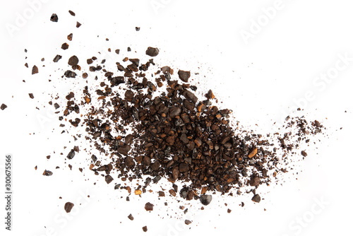 Dark ground coffee bean crushed craked broken isolated on white background top v Canvas Print