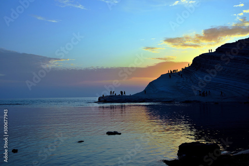 Spoed Fotobehang Europa stair of the turks (Scala dei Turchi) mediterranean Beach Agrigento Italy