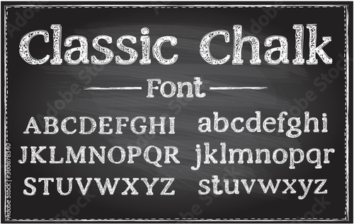 Handwriting classic chalk vector font, typography lettering on a chalkboard Canvas Print