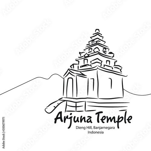 Arjuna Temple, Dieng Hill Indonesia in Line Art Vector Illustration