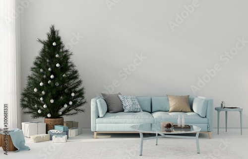 Festive blue living room interior with christmas tree