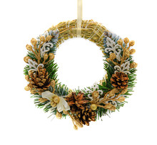 Christmas Wreath With Golden Brunches Isolated Decoration On The White Background.