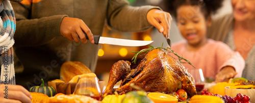 Obraz na plátne Happy Family Celebrating Thanksgiving Dinner at home