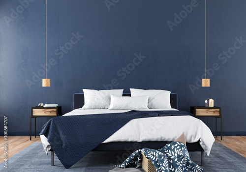 Stylish bedroom interior in trendy blue