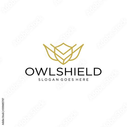 line art owl with a shield body logo design inspiration