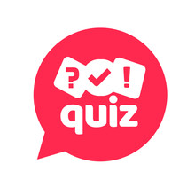 Quiz Logo Icon Vector Symbol, Flat Cartoon Red Bubble Speech With Question And Check Mark Signs As Competition Game Or Interview Logotype, Poll Or Questionnaire Modern Creative Horizontal Image