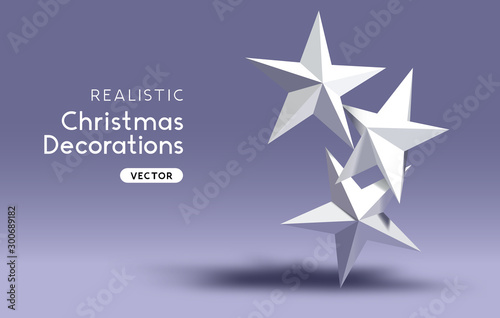 3D effect realistic Christmas star decorations. Canvas-taulu