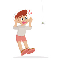 Cartoon Character, Boy Scared Of Spider.