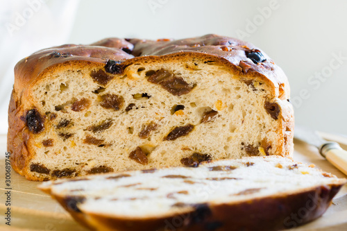 Fotografija Barmbrack or bairin breac a traditional Irish fruit loaf