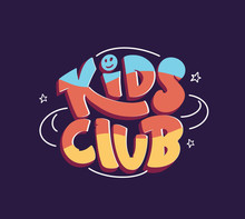 Colorful Kids Club Logo. Hand Drawn Lettering Composition