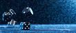 Leinwandbild Motiv Picture of several black cubes falling on a blue background.