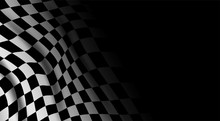 Black And White Checkered Flag Background. Sport And Race Theme, Victory Flag . Vector.
