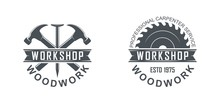 Black And White Illustration Of A Logo Of A Workshop Of Wooden Products. Vector Illustration Of A Saw, Hammer, Nail And Text On A White Background