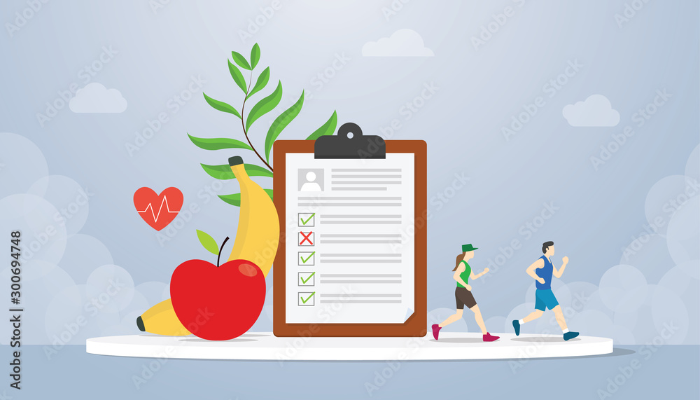 Fototapeta diet plan concept with people running health with healthy food fruit banana and apple - vector