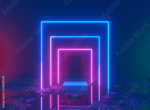 Canvas Print 3d rendering, neon light, glowing lines, ultraviolet, stage, portal, square port