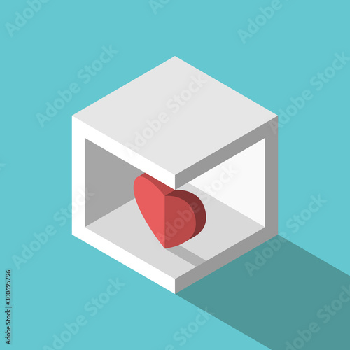 Isometric heart in box Fototapet