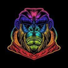 Gorilla Hoodie Colorful Vector Illustration