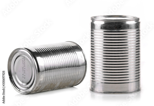 Cuadros en Lienzo Canned food isolated on white