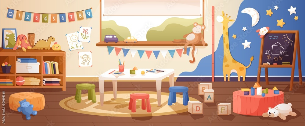 Fototapeta Kindergarten room interior flat vector illustration. Cozy playroom with cute children paintings on wall, furniture and toys. Nursery school environment for teaching kids and playing games.