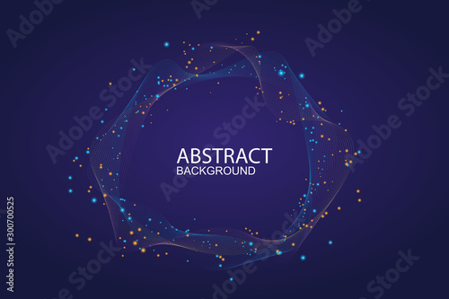 Valokuvatapetti Modern vector illustration with a deformed circle shape of the particles of blue color on a dark background