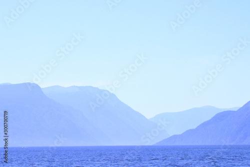 Keuken foto achterwand Lichtblauw landscape with mountains and sea