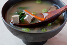 Close Up Of Miso Soup With Tof...